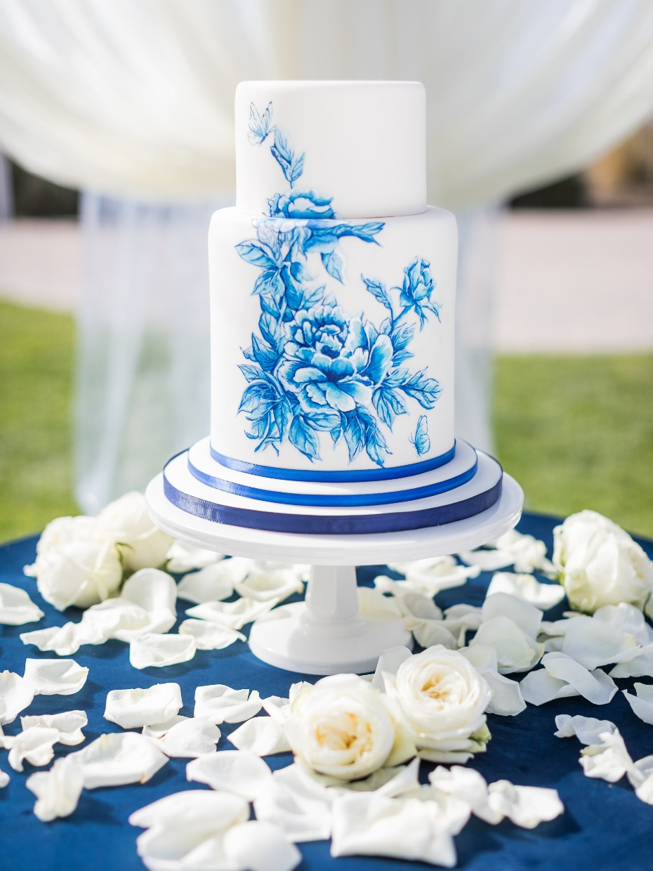 Blue and white hand painted wedding cake