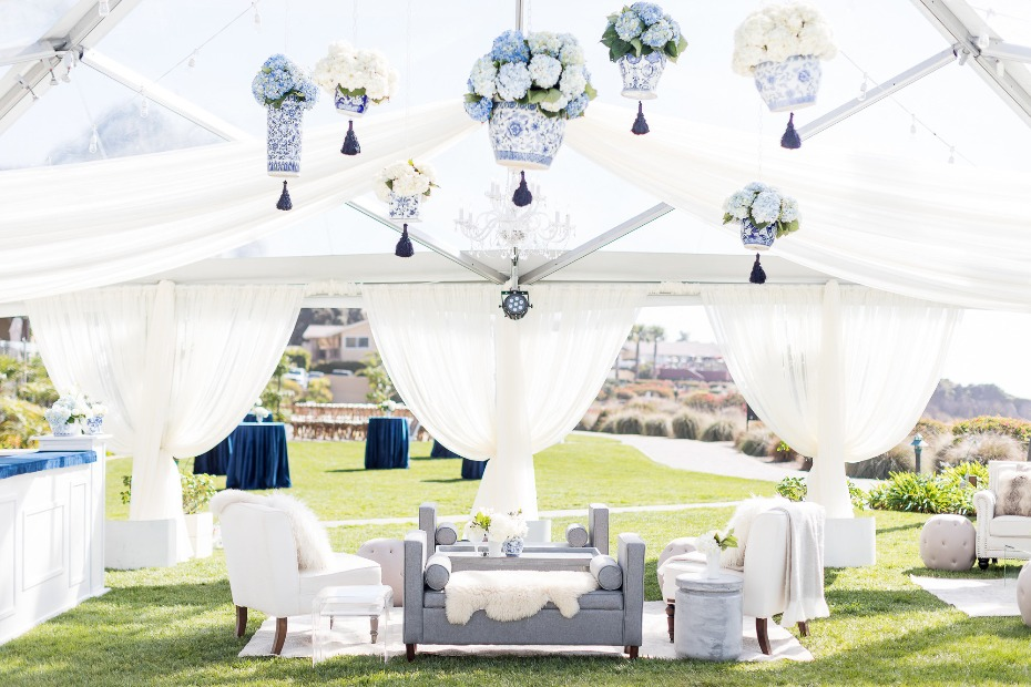 Regal blue and white reception decor