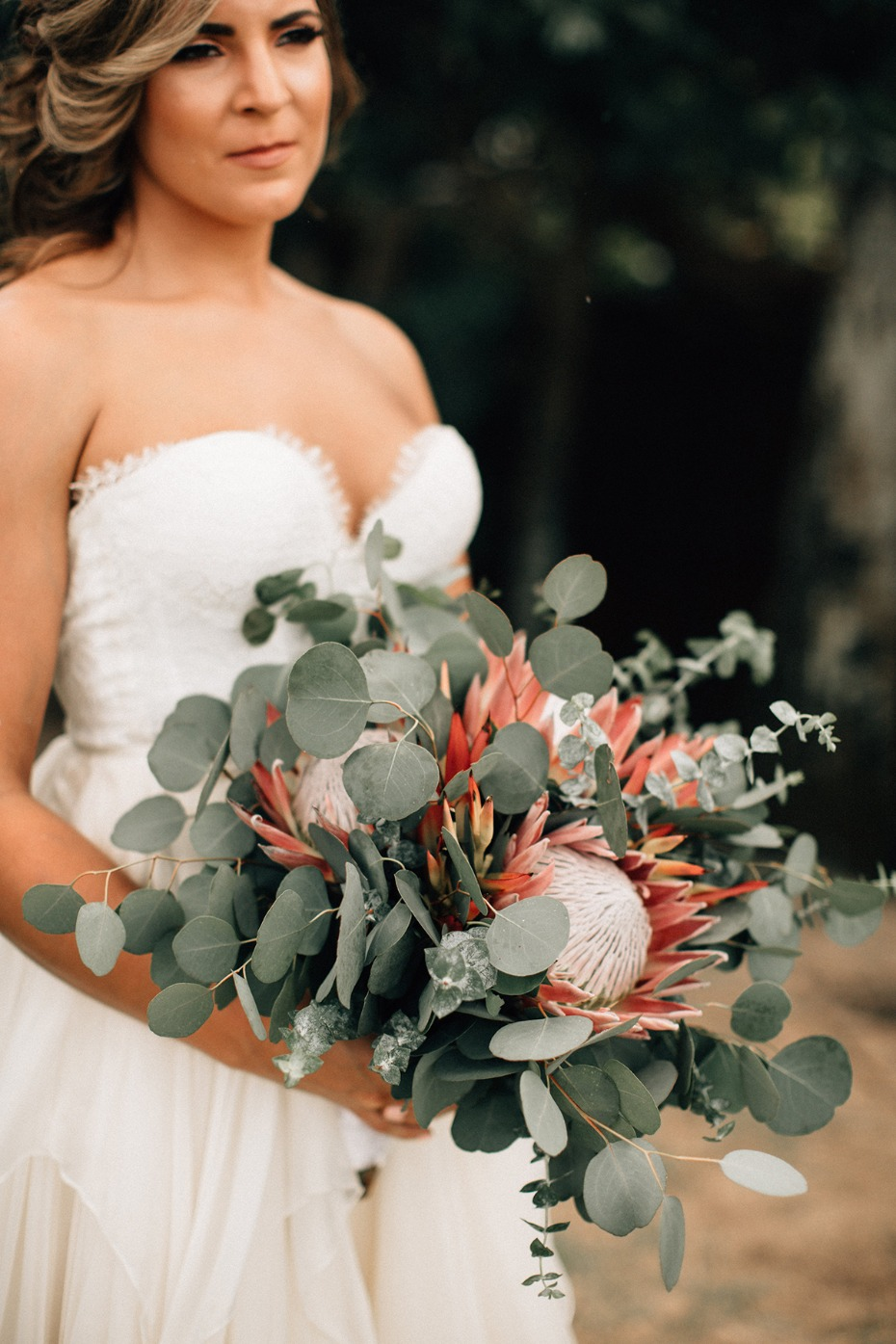eucalyptus and king protea wedding bouquet