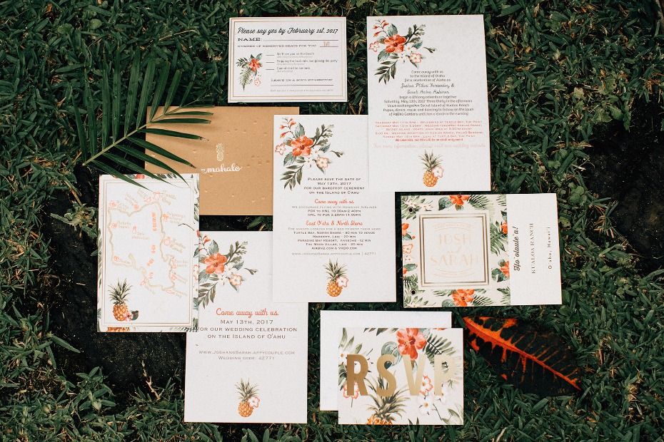 tropical themed wedding invitation suite