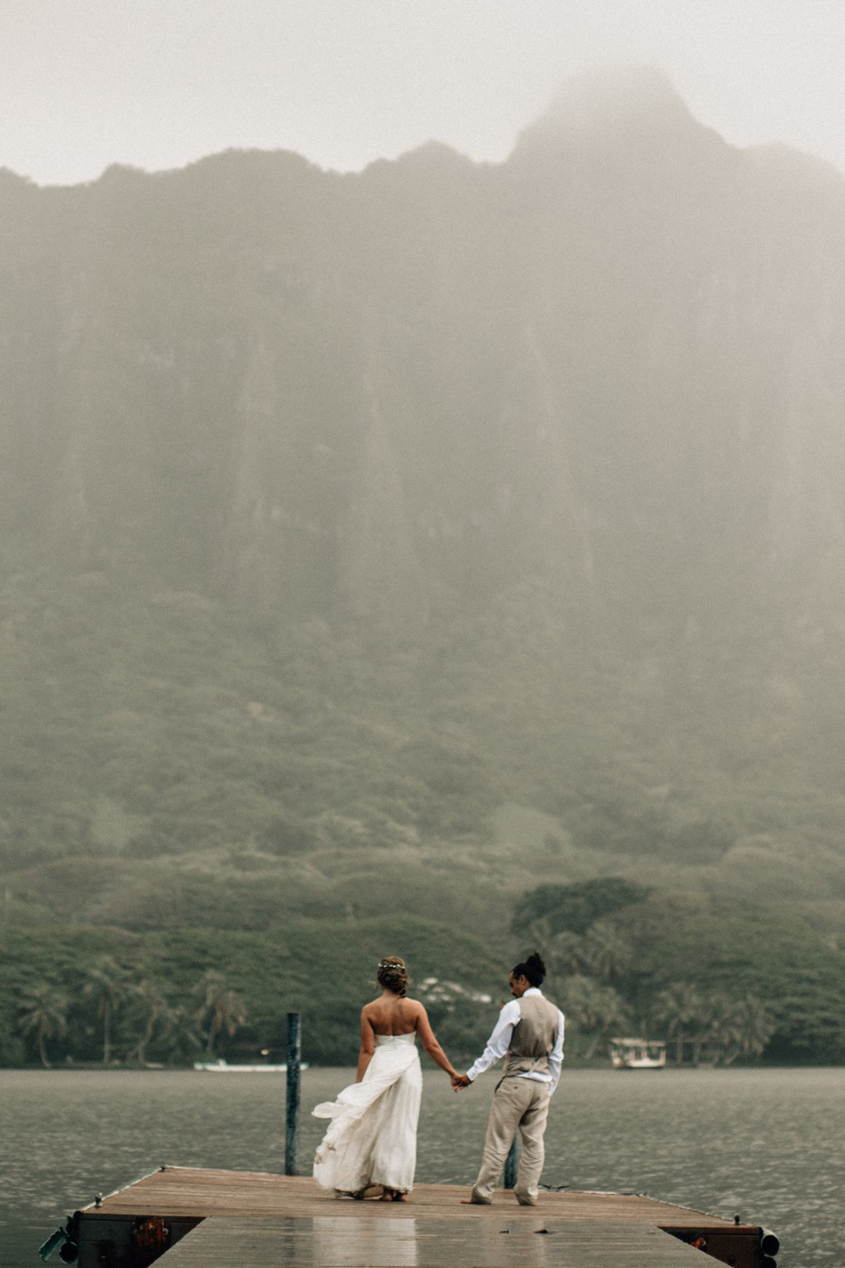 a bride and groom in Hawaii