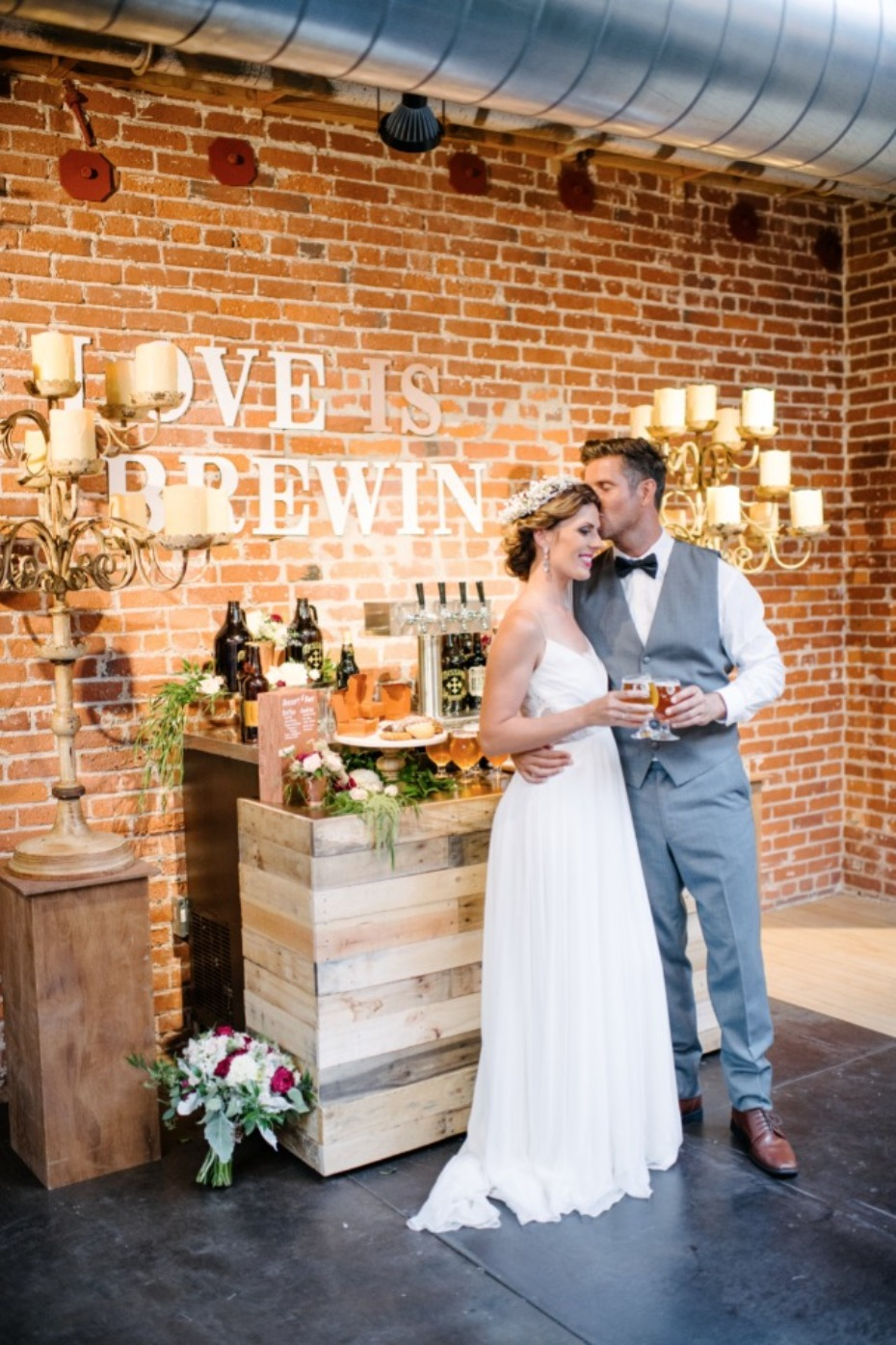modern boho chic wedding at a brewery