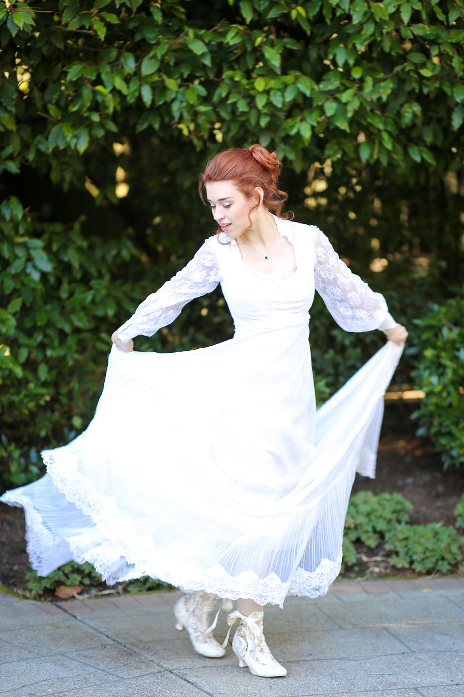 Vintage wedding dress and shoes
