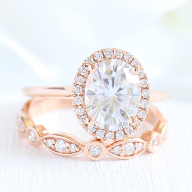 Shop oval shaped engagement ring bridal sets like this oval moissanite beauty from La More Design here ~