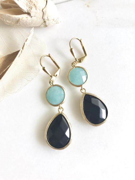 Awesome! Bold! Elegant! Black teardrops with the aqua stones is just stunning and lovely, especially in gold!