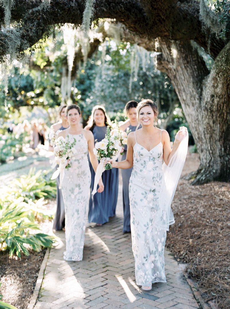 Bridesmaids in the stunning floral embroidered Claire and Julianna dresses in the color Sand Dune | photo by @sarahkatephoto #jennyyoobridesmaids