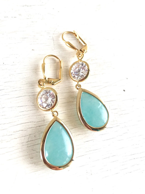 Aqua Turquoise Teardrop and Clear CZ Dangle Bridesmaid Earrings in Gold. Drop Earrings. Turquoise Dangle Earrings. Bridal Party Jewelry