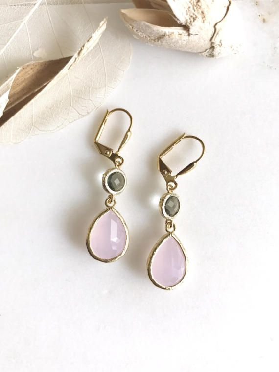 Awesome! Lovely! Elegant! Soft pink teardrops with the charcoal jewels in gold are just stunning and lovely!