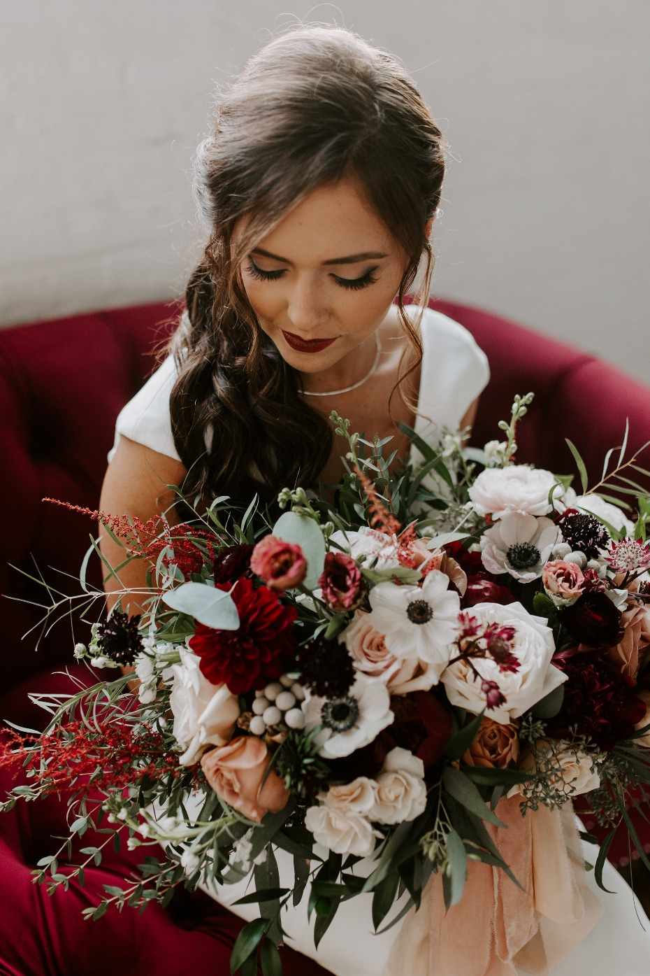 Blush and burgundy wedding bouquet