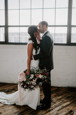 Minimalist Industrial Winter Wedding with Blush and Burgundy Accents