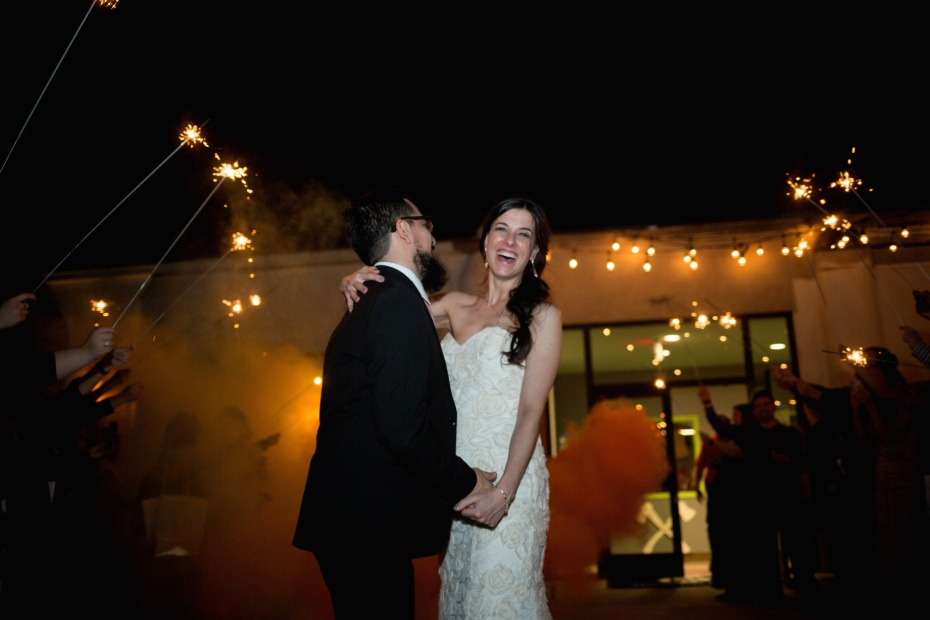wedding sparklers and smoke bomb