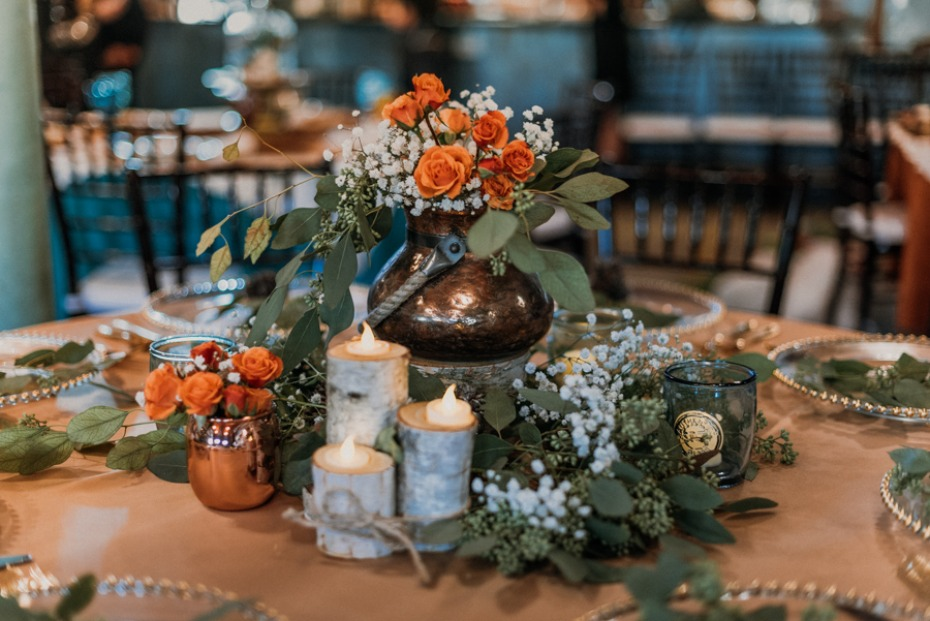 wedding centerpiece with rustic vibes
