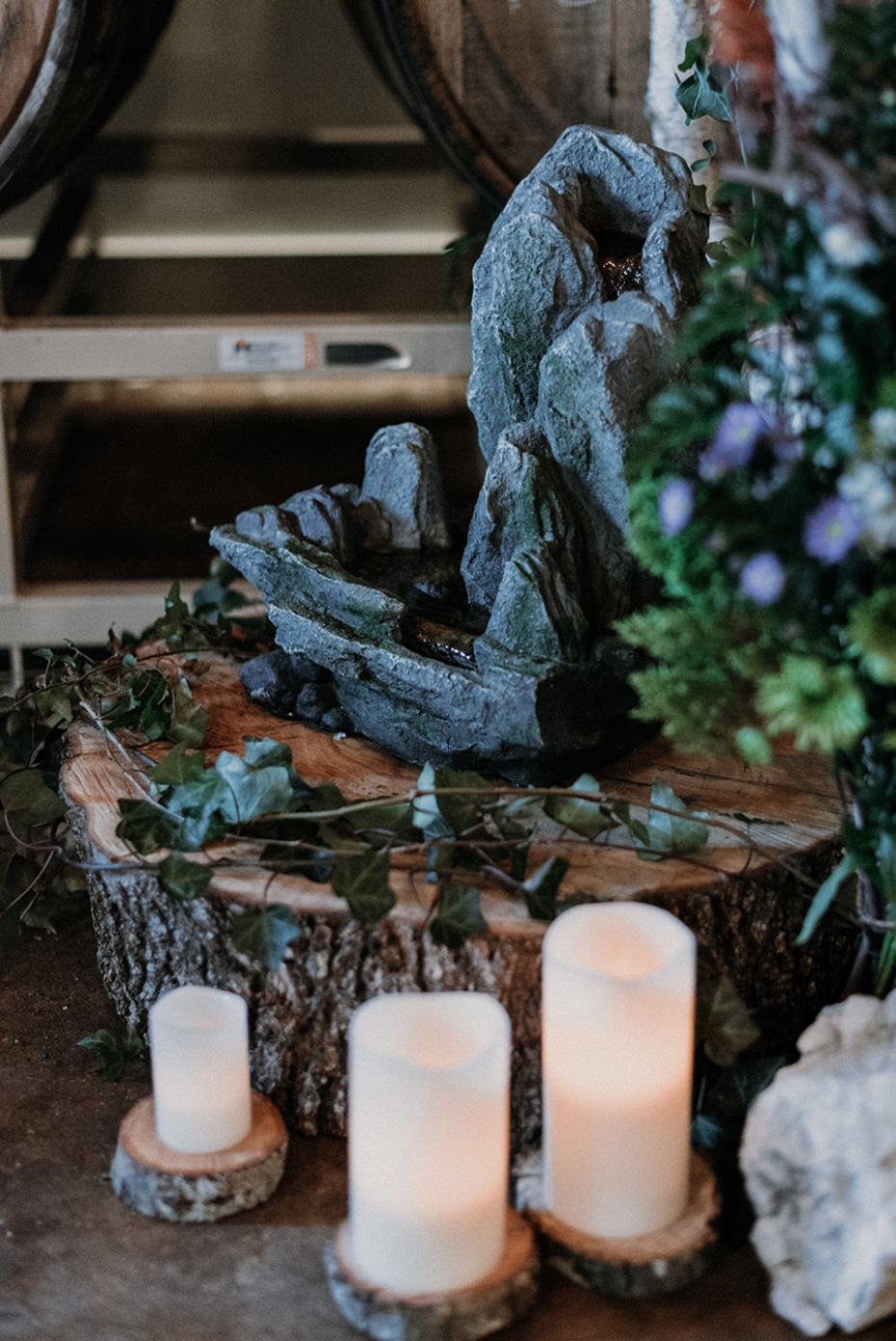 natural rustic chic wedding ceremony decor