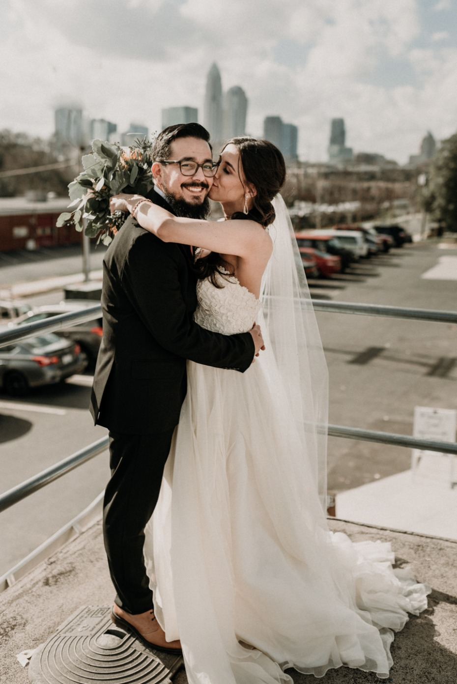 sweet rooftop wedding photo idea