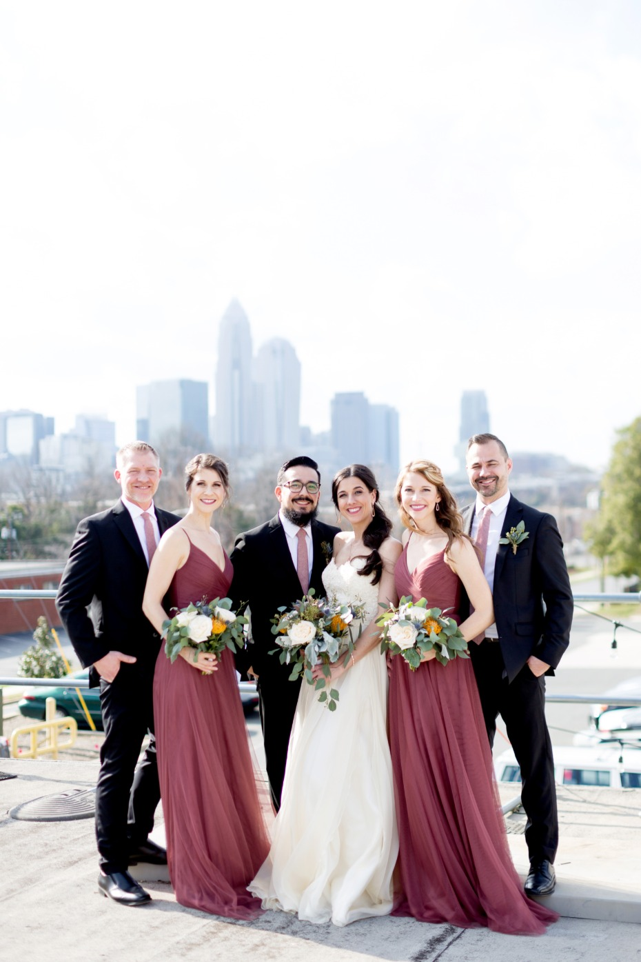 wedding party rooftop photo idea