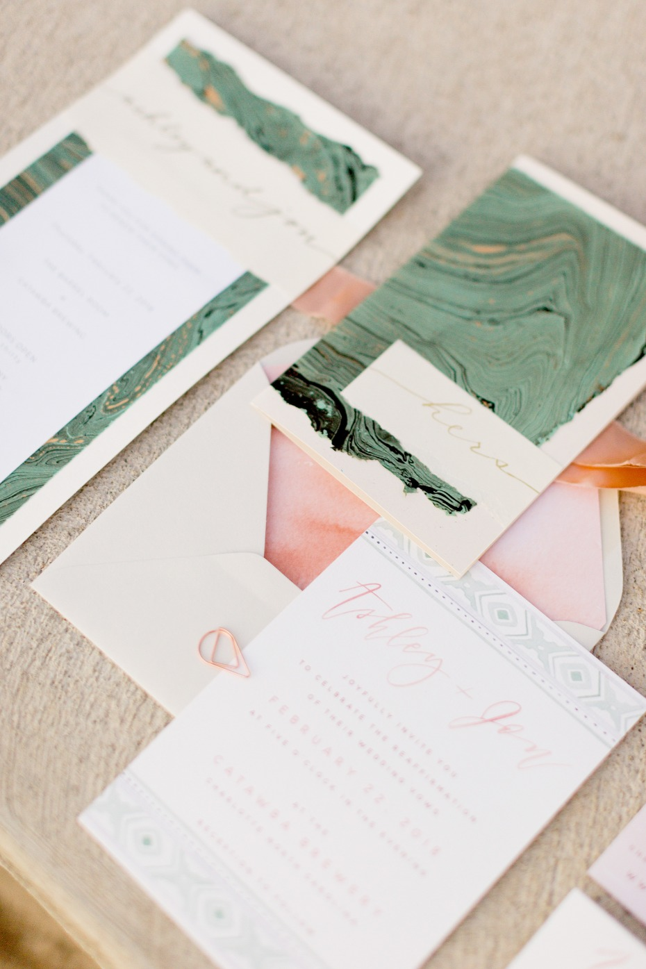 marbled wedding stationery