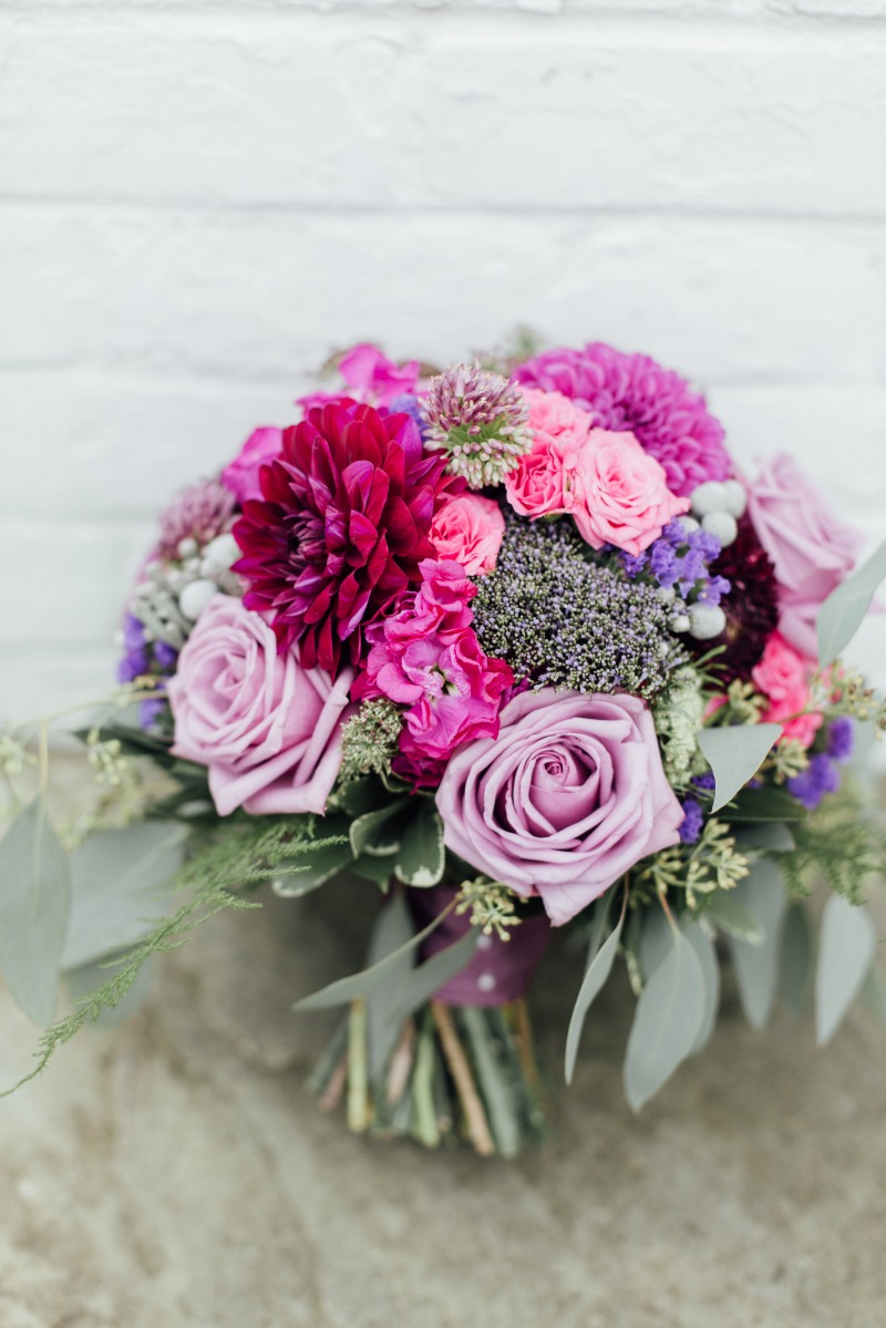 Pretty Purples for this hand-tied bouquet!