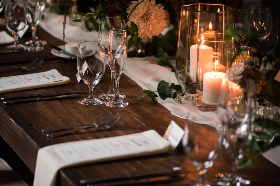 Add candles to your reception table