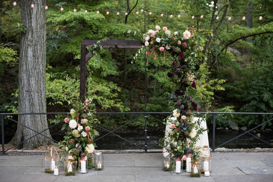 Floral filled ceremony arch