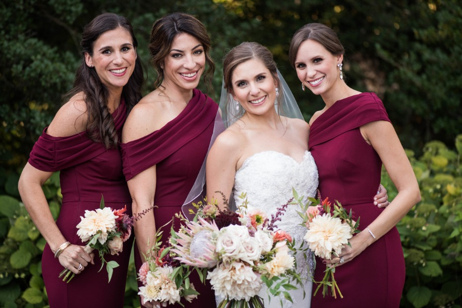 Bridesmaids in burgundy