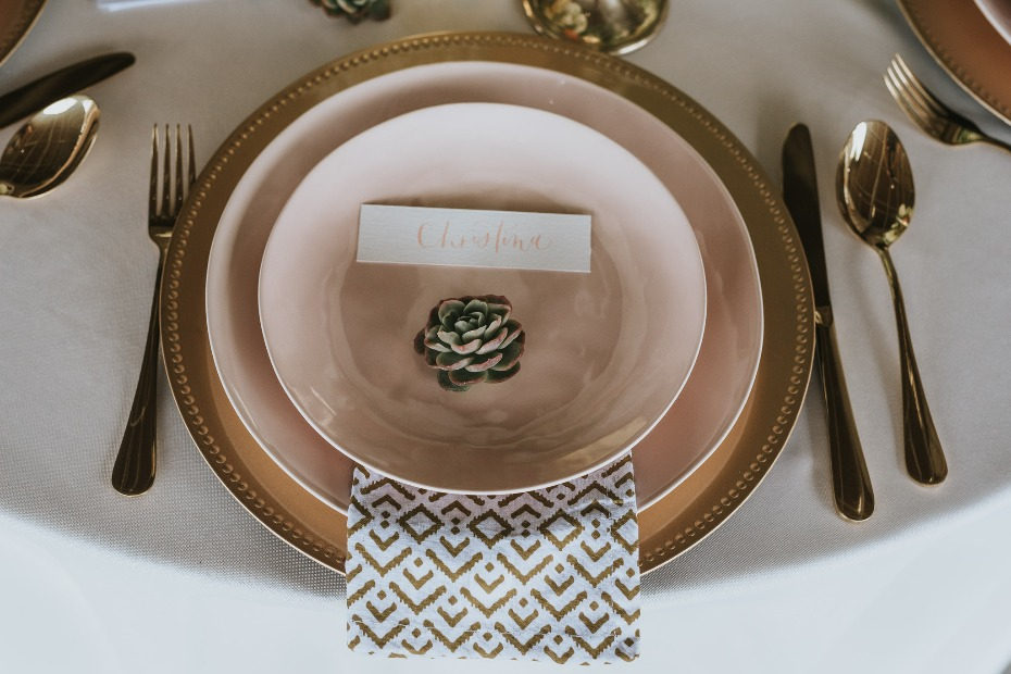 blush and gold modern wedding place setting