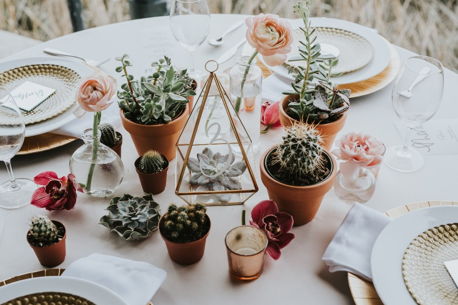modern succulent wedding centerpiece idea