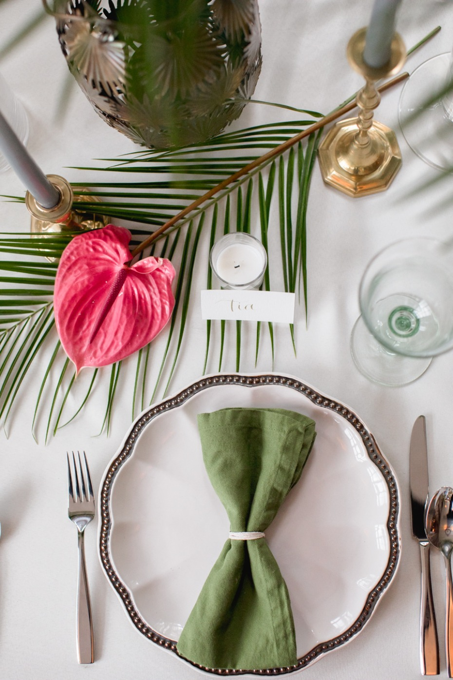 modern chic tropical wedding table