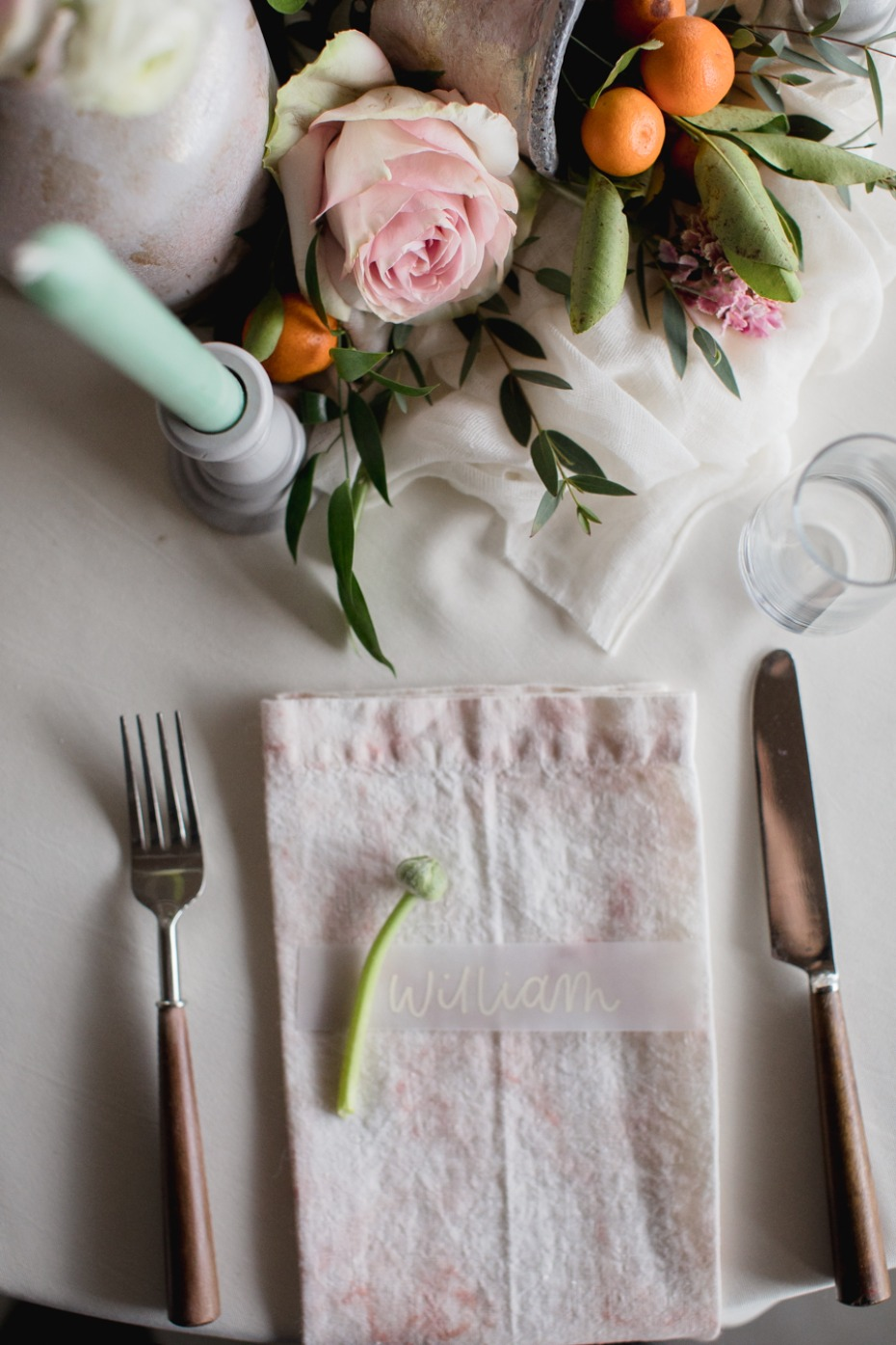 modern boho chic wedding place setting