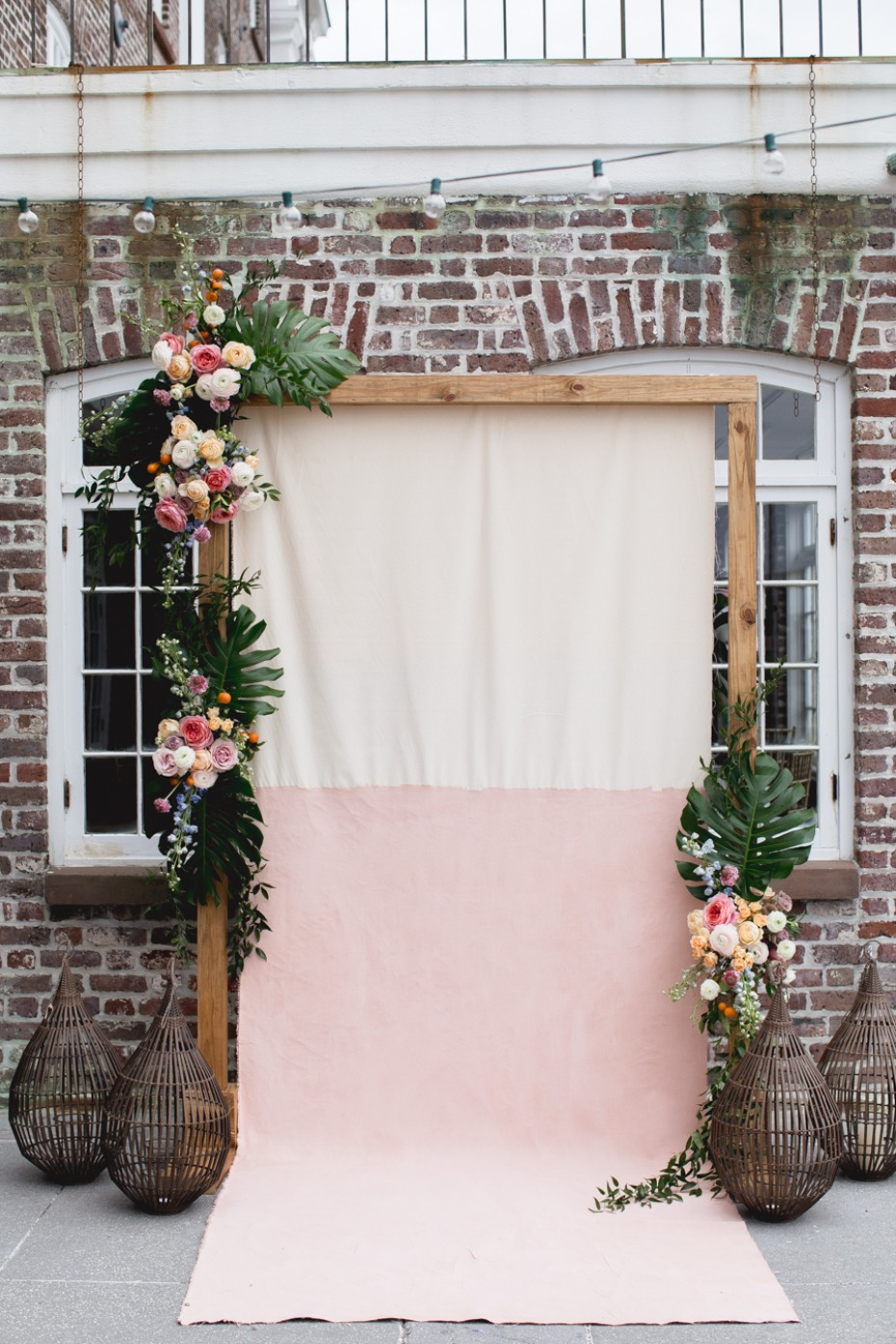 tropical modern boho wedding backdrop