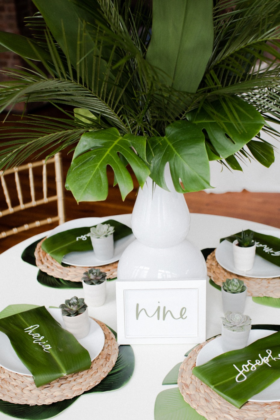 modern tropical wedding table