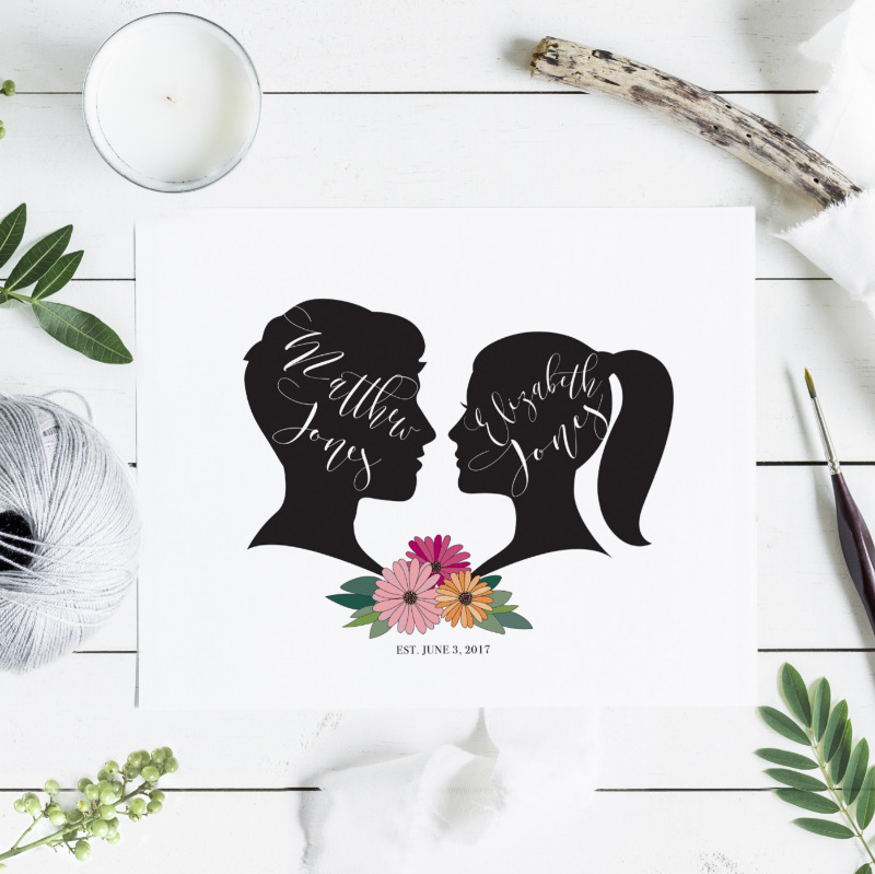 Custom couples silhouette print. Use your own silhouettes or choose from a selection of different images and four floral bouquets.