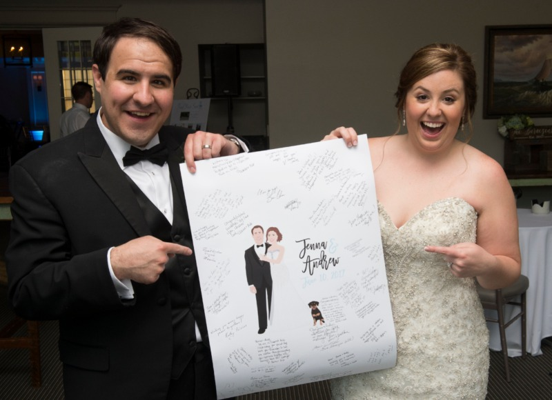 Our clients are literally the BEST clients EVER! Look how excited this bride and groom are with their guest book alternative, and we