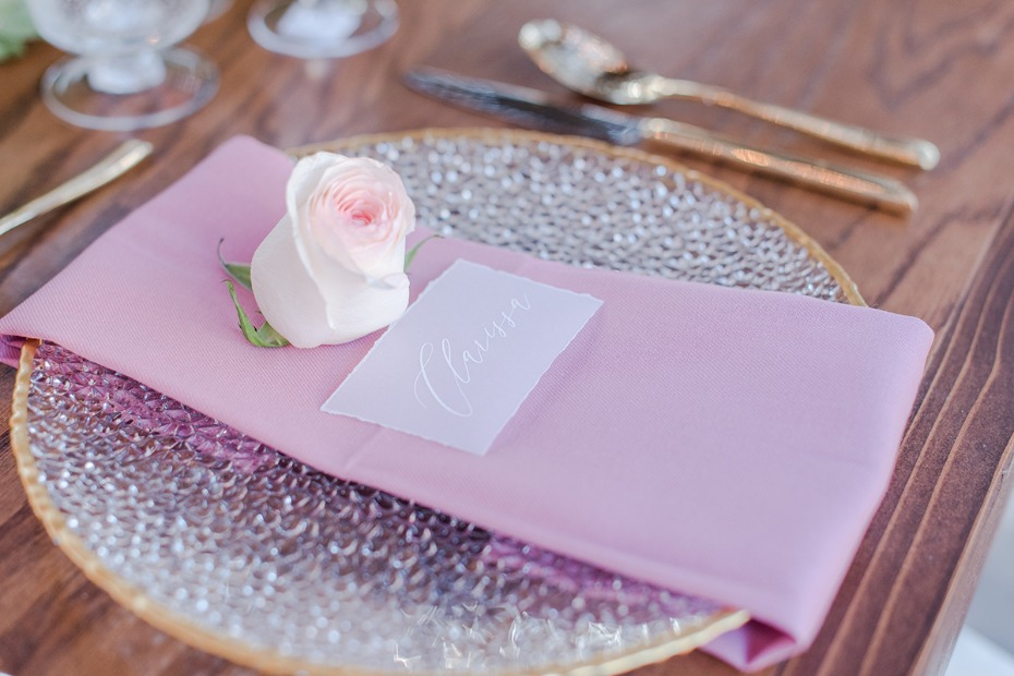 romantic gold and pink wedding place setting