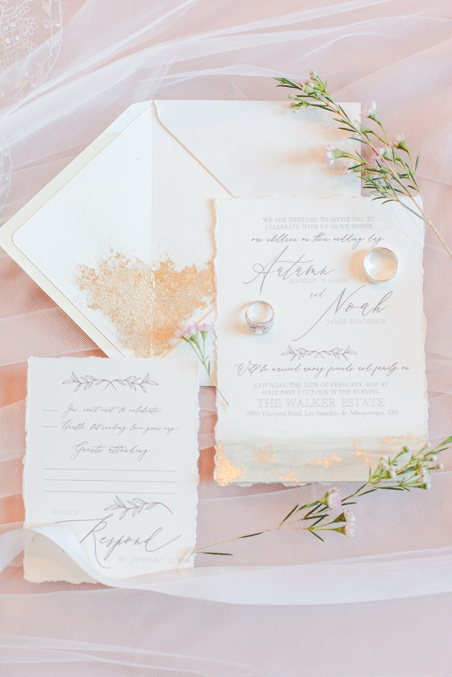 romantic gold wedding invitations