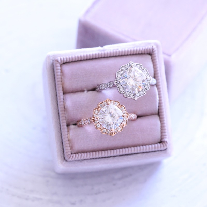 For the girl that loves vintage-inspired designs, shop Vintage Floral Scalloped Engagement Rings from La More Design ~