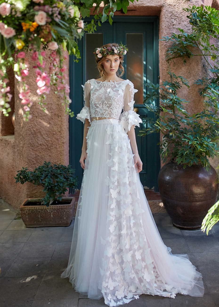 Butterfly appliqué two piece wedding dress from Made Bride by Antonea