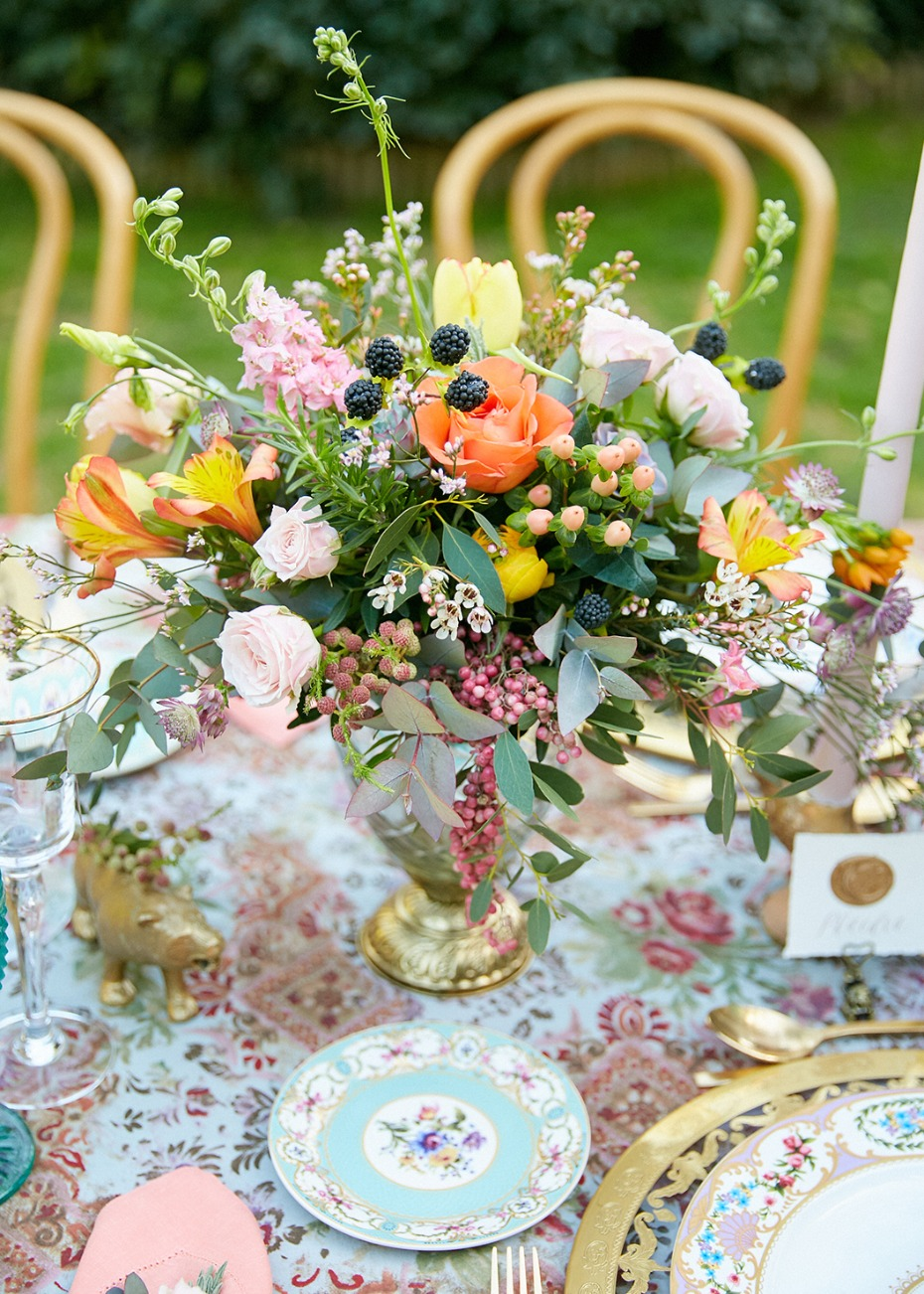 Fruit and floral centerpiece idea