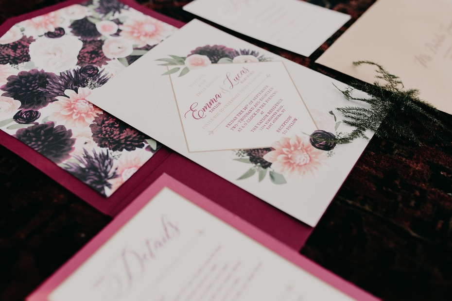 fall inspired floral wedding invitations