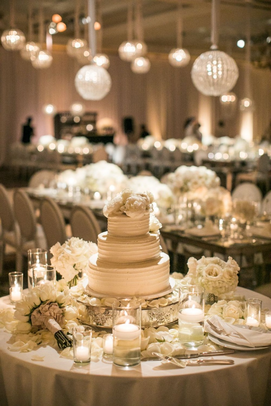 all white wedding cake table