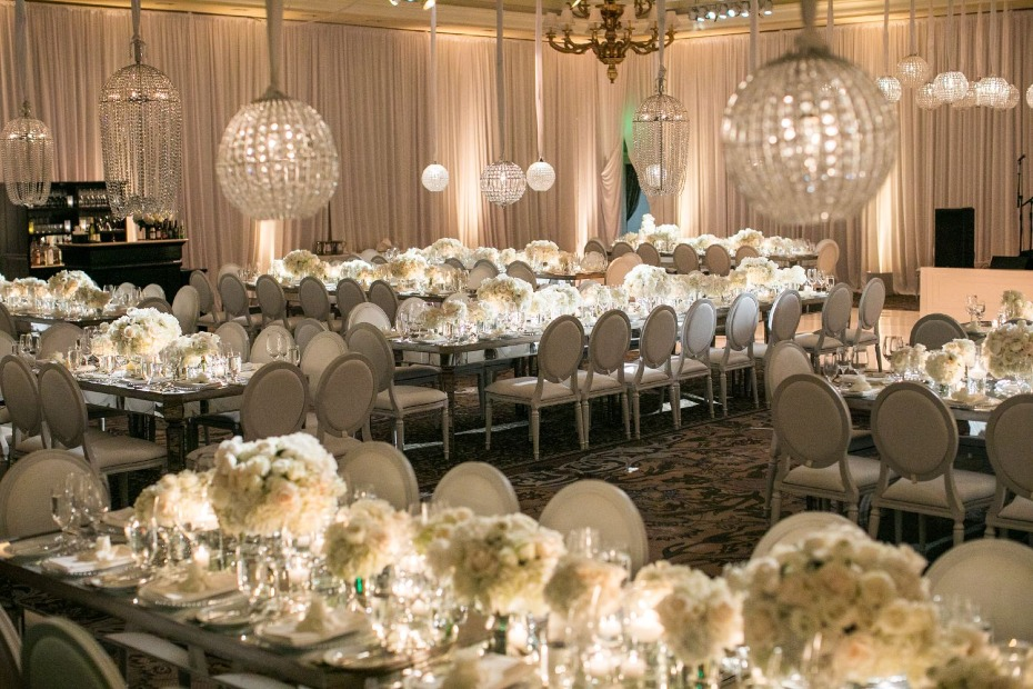glamorous all white wedding reception