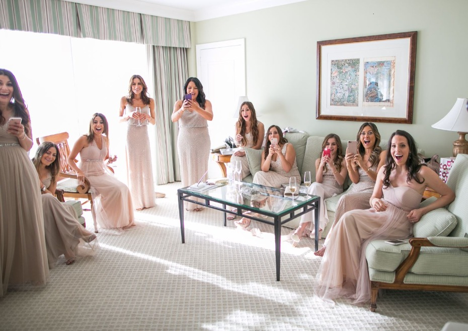 surprise your bridesmaids, first look
