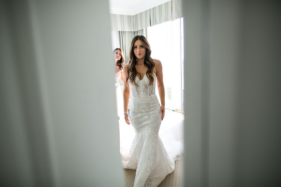 bride in Galia Lahav gown