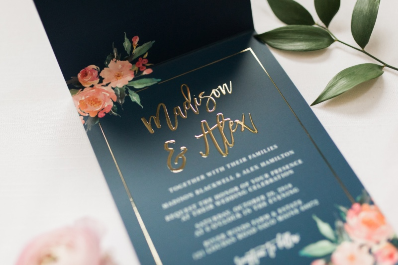 Foil is the best way to add a standout details to your wedding invitations. Foil comes in gold, silver, and rose gold and each option
