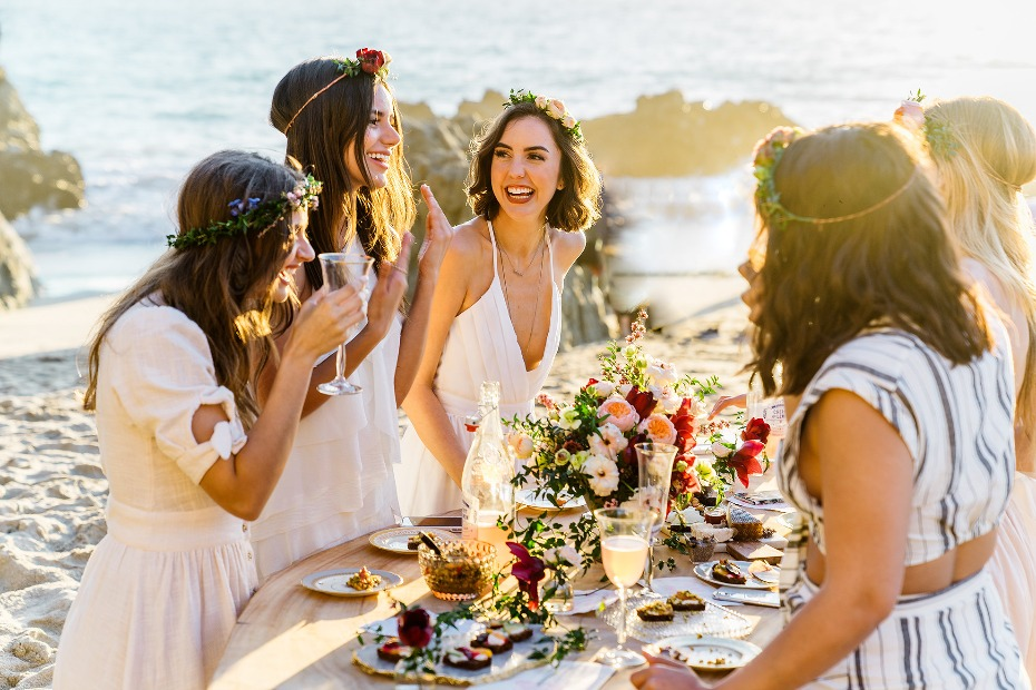 golden beach boho table