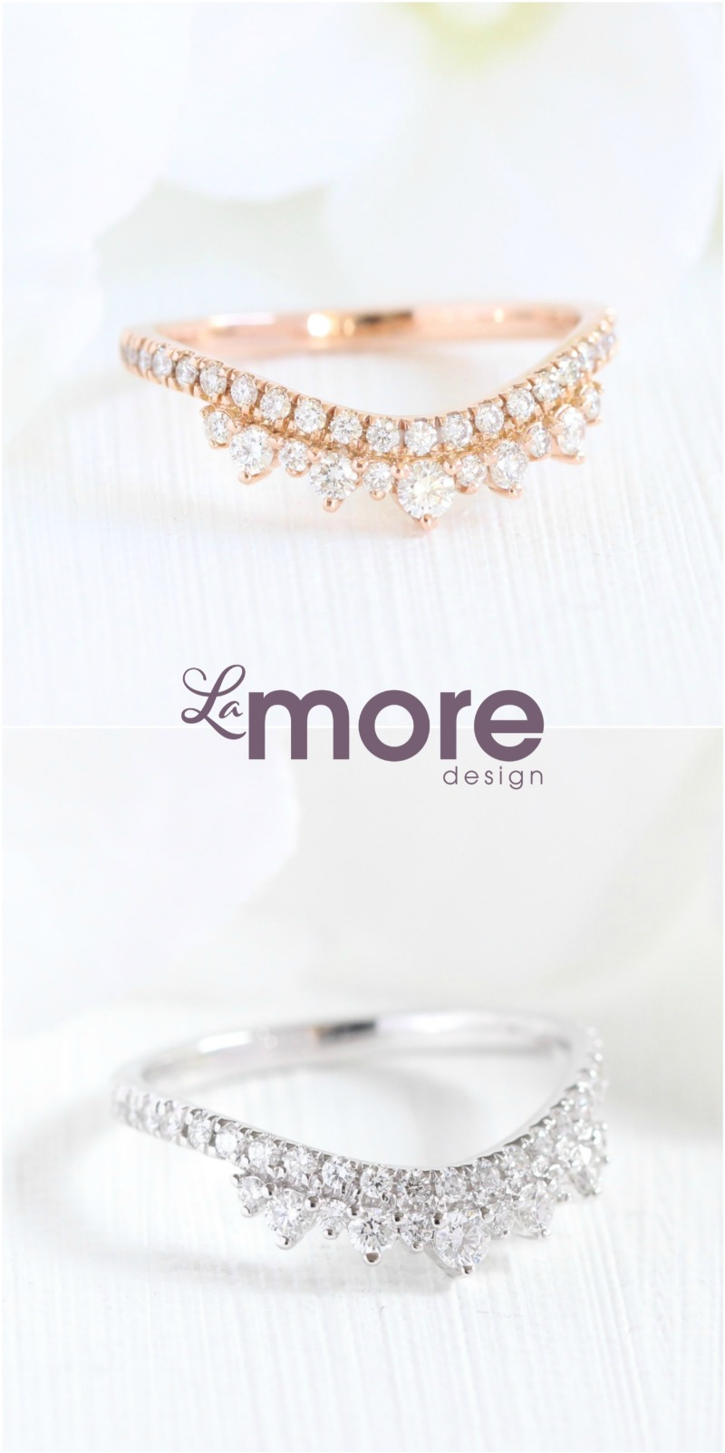 Curved Crown Diamond Wedding Bands from La More Design ~