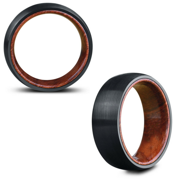Mens Woodland & Urban Hybrid Ring. This men's wedding ring is made out of tungsten carbide and koa wood.