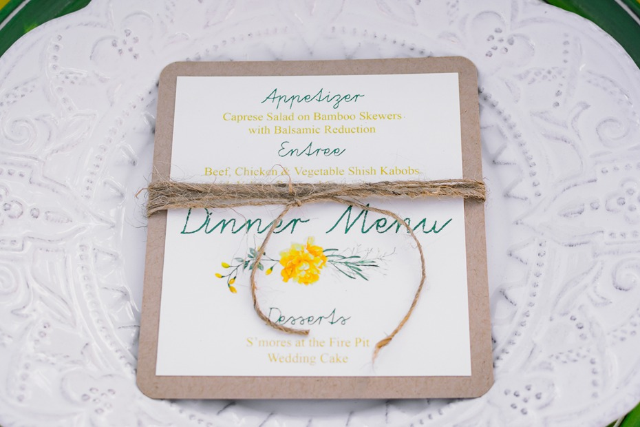 rustic green and yellow invitation