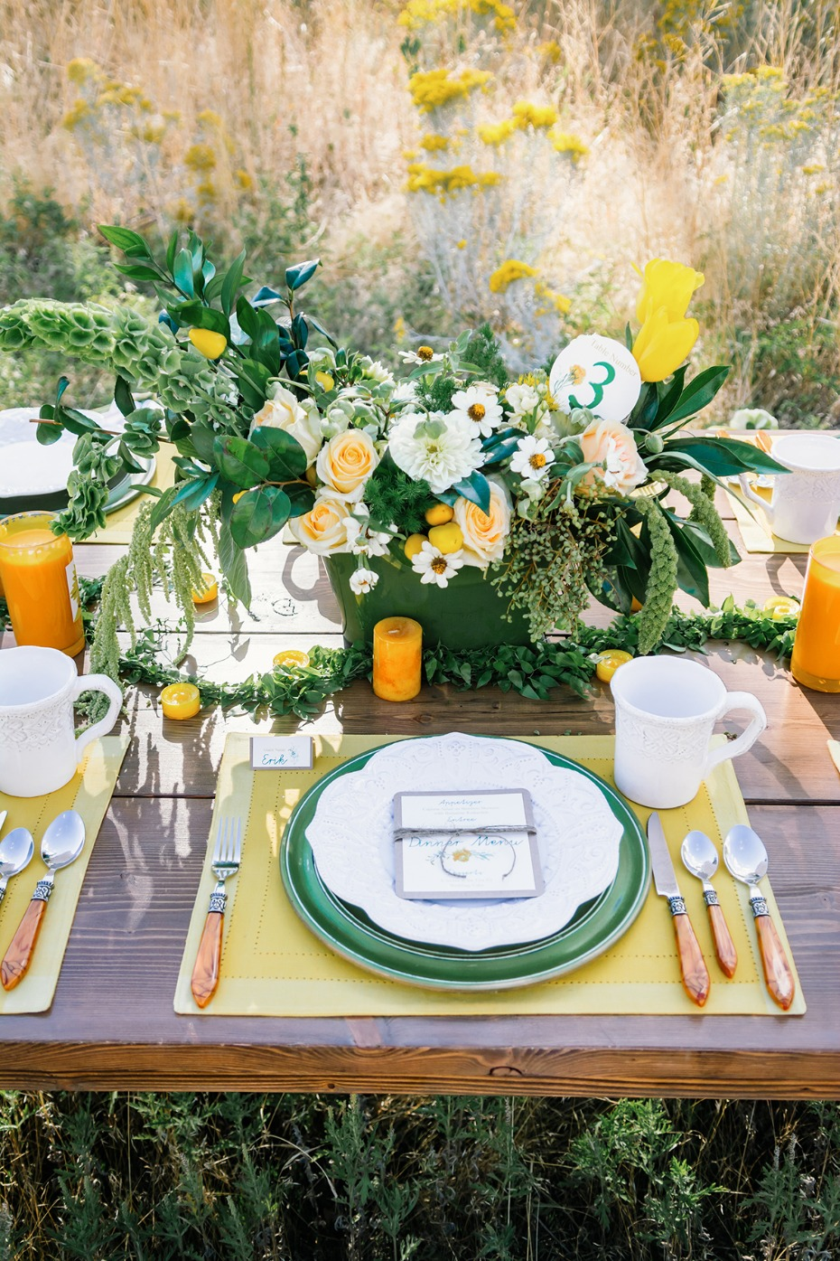 green yellow and white wedding table