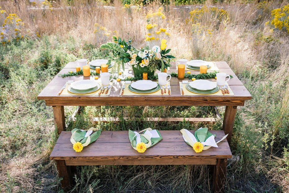 green and yellow wedding table