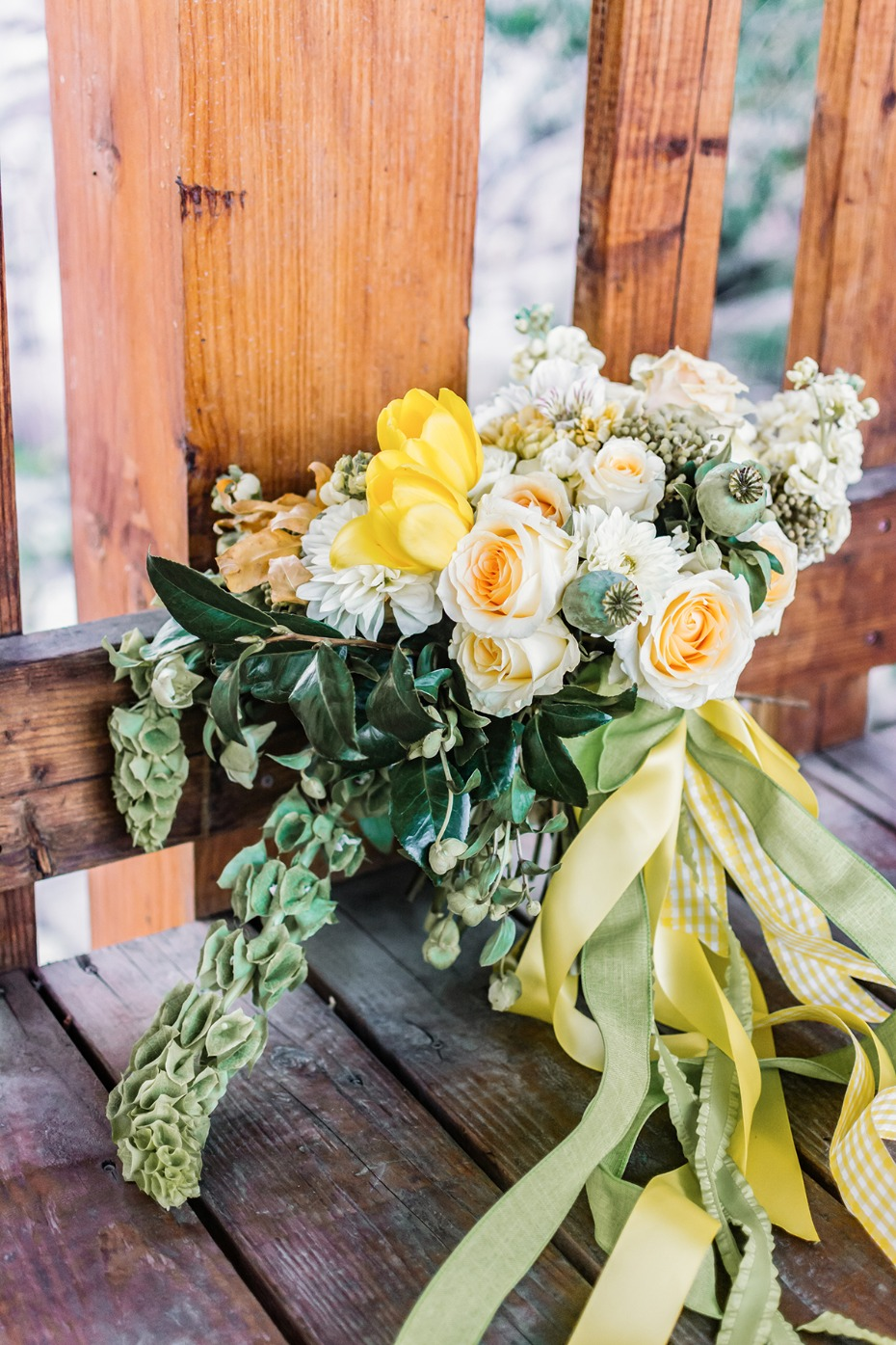 green white and yellow bouquet